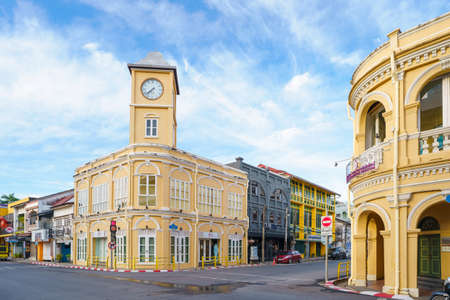 Phuket old town with Building Sino Portuguese architecture at Phuket Old Town area Phuket, Thailand. Banco de Imagens