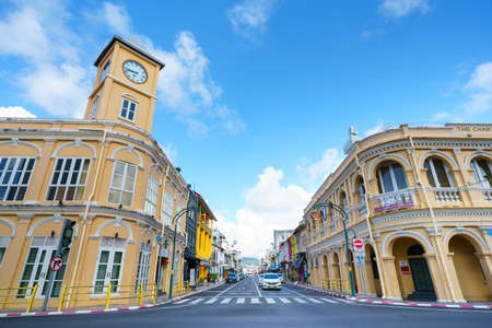 Phuket old town with Building Sino Portuguese architecture at Phuket Old Town area Phuket, Thailand. 新闻类图片