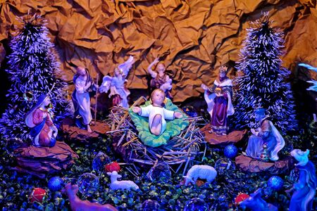 Christmas nativity scene with baby Jesus in the manger.