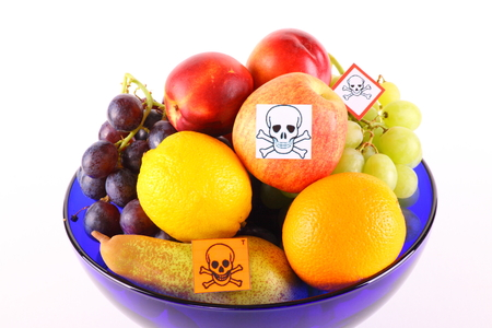 pollution: Poisoned fruit Stock Photo