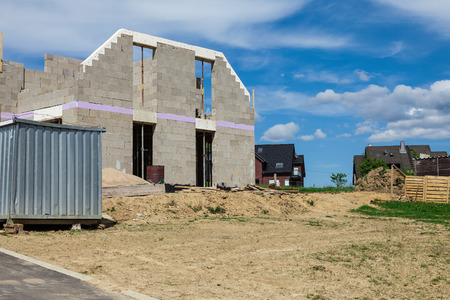 homeowners: Shell of a house on a construction site Stock Photo