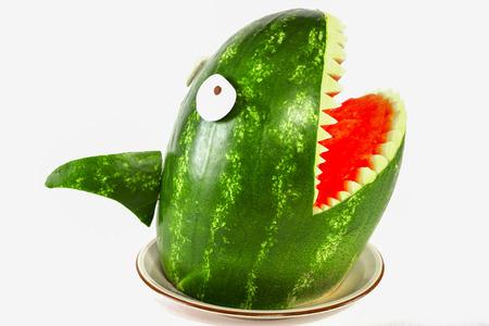 Watermelon shark - Shark carved out of a watermelon Standard-Bild