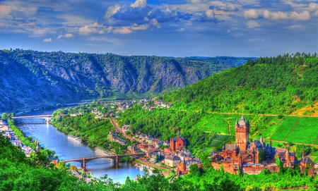 View over Cochem on the Moselle in Germany