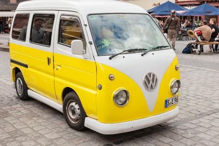 vw: Heidelberg, Germany - May 16th, 2015: An old VW Bulli in the marketplace of Heidelberg.