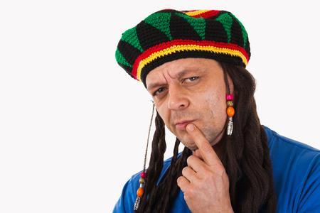 dreadlocks: A crazy man with dreadlocks wig-isolated