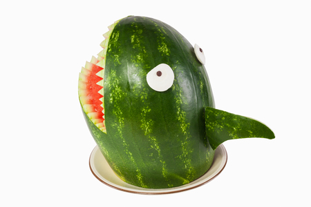 Watermelon Shark Shark Carved Out Of A Watermelon Stock Photo