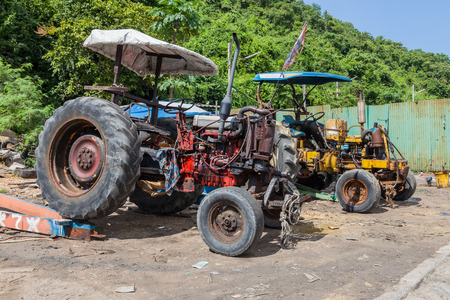 Two old tractors in Thailand 写真素材