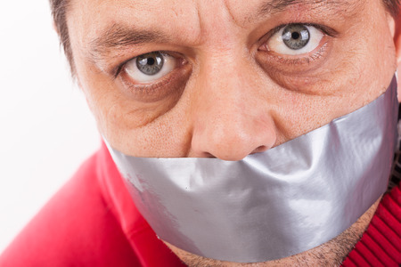 gagged: Man with tape gagged mouth