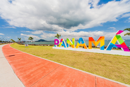 Panama lettering on the Causeway in Panama City