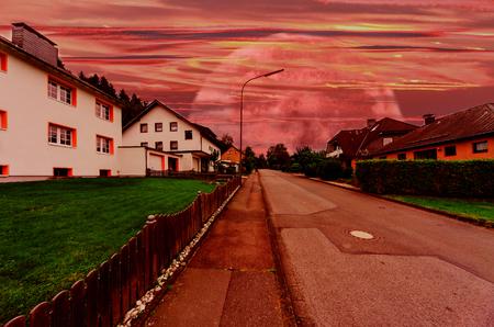 interplanetary: Village street with futuristic interplanetary sky