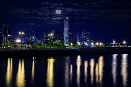 Skyline of Panama city at the blue hour Stock Photo