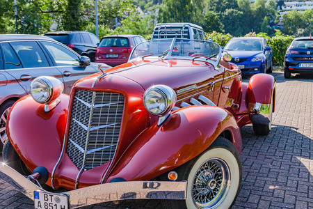 Muehlheim, Germany - September 10, 2016: Super Charged Auburn 851 Boattail Classic. Auburn was a brand name of American automobiles produced in Auburn, Indiana from 1900 to 1936.