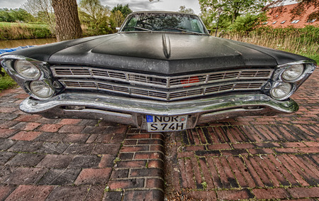 morris: Greetsiel, Germany - May 14, 2017: A Ford Galaxie 500. The Ford Galaxie is a full-size car built by Ford in the years 1959 to 1974 in the United States. It was first the luxury variant of the Ford Fairlane, before it was marketed starting from 1960 as own