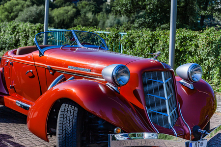 Muehlheim, Germany - September 10, 2016: Supercharged Auburn 851 Boattail Classic. Auburn was a brand of American automobiles produced in Auburn, Indiana from 1900 to 1936.