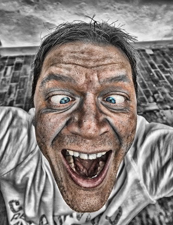 Close-up of a man with crazy comical face Stock Photo