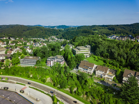 urban idyll: Aerial photo of Gummersbach, a town in Germany