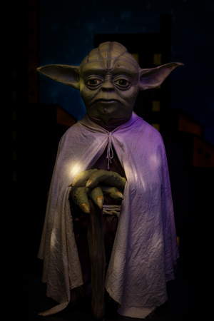 Foz do Iguazu, Brazil - November 22, 2017: Grandmaster Yoda in the waxworks museum in Foz do Iguazu / Brazil.