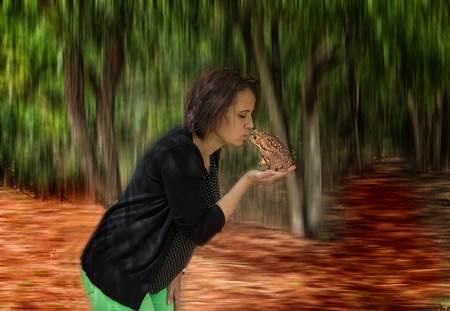 A woman kiss a frog. Stock Photo