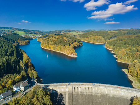 Aerial view of the agger dam in Gummersbach Stock Photo