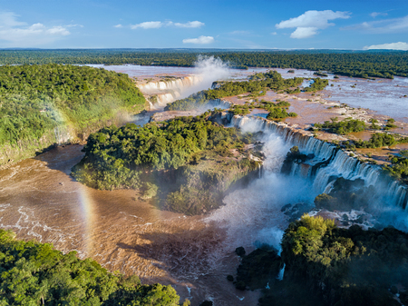 Aerial view of the Iguazu Falls. View over the Garganta del Diablo the Devil's Throat.