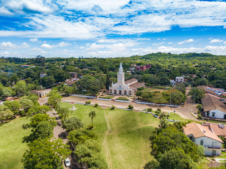 Aerial view of the catholic church Stock Photo