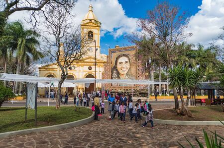 Villarrica, Paraguay - September 17, 2018: The tableau of the well-known Paraguayan artist Dolphin Roque Ruiz (Koki Ruiz) in Villarrica, representing Chiquitunga, has been beatified in Asunción earlier this year. The tableau consists of thousands of rosar Editorial
