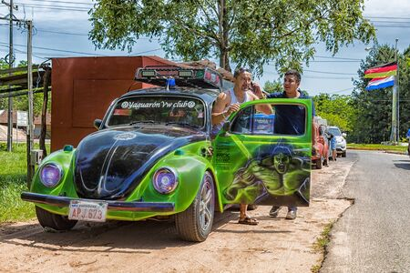Colonia Independencia, Paraguay - November 21, 2018: VW Beetle meets in the Colonia Independencia in the heart of Paraguay with curious tags. Editorial
