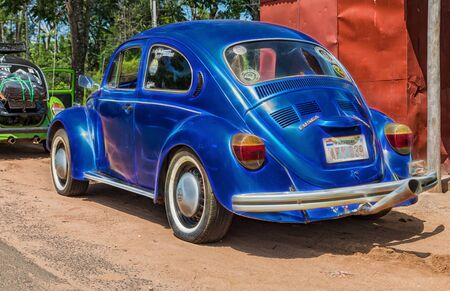 Colonia Independencia, Paraguay - November 21, 2018: Colonia Independencia, Paraguay - November 21, 2018: VW Beetle meets in the Colonia Independencia in the heart of Paraguay with curious tags.