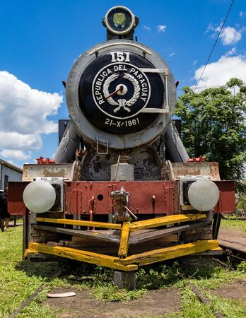 Villarrica  Paraguay, Paraguay - November 21, 2018: Old rusted steam locomotive in Paraguay. In Paraguay there is no more rail traffic today. Editorial