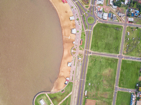 The San Jose beach at Encarnacion in Paraguay from a bird's eye view.