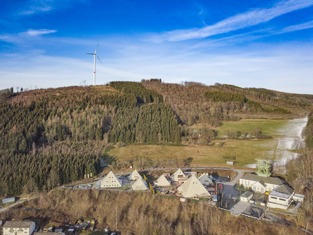 Aerial view of the pyramid park in Lennestadt Stock Photo