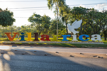 Villarrica lettering. Villarrica is a city in the center of Paraguay.