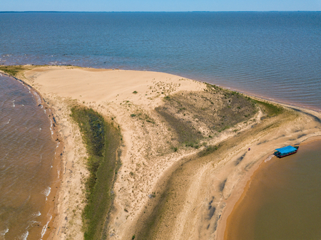 Aerial view from a height of 50 meters, from the dune island