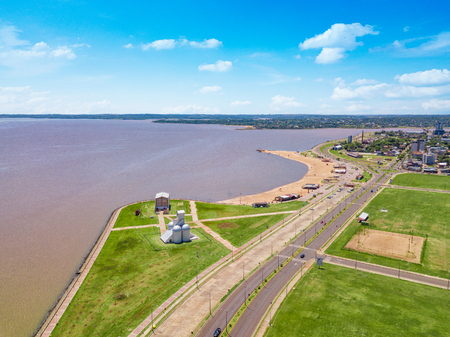 Aerial view of Encarnacion in Paraguay overlooking the San Jose beach.