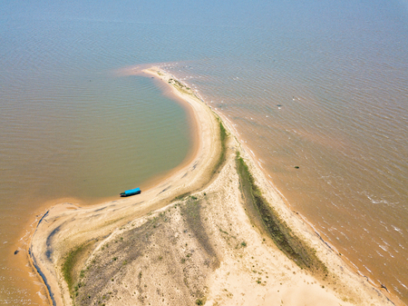 Aerial view from a height of 105 meters, from the dune island