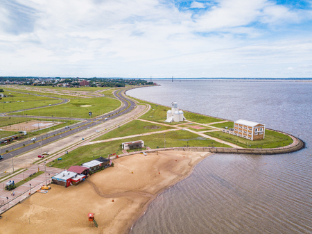Aerial view of Encarnacion in Paraguay overlooking the San Jose beach and the bridge to PosadaArgentina. Reklamní fotografie