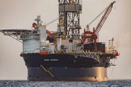 Curacao, Caribbean - April 02, 2014: The oil rig