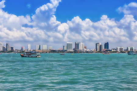 View from seaside on the skyline of Pattaya Thailand