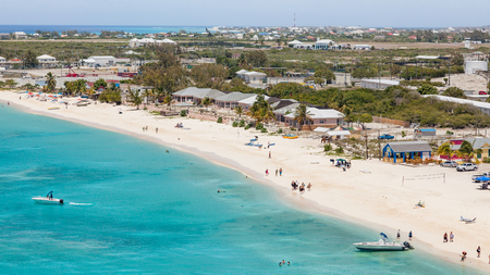 Aerial view of the Caribbean Sea with a view over Cockburn Town. Reklamní fotografie