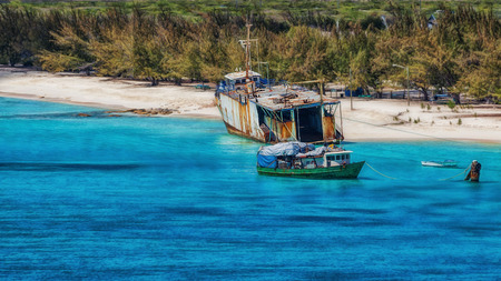Ship wreck on the beach at Grand Turk in the Caribbean.