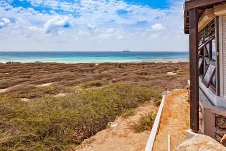 View from the Hudishibana plateau on Aruba to the open sea. On the Hudishibana Plateau is also the famous California lighthouse of Aruba.