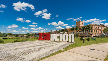Asuncion letters in front of the Presidential Palace in the capital of Paraguay.