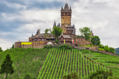 The medieval castle in Cochem, a town on the Moselle in Germany.
