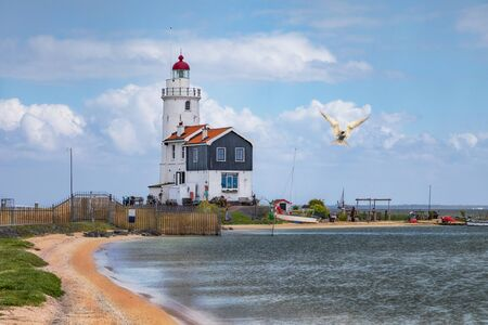 The lighthouse of Marken, a small island in the Markermeer in the Netherlands