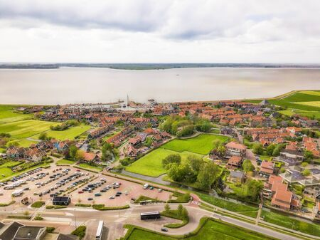 Aerial view of Marken, a small Dutch island in the Markermeer  Ijsselmeer on the North Sea coast.