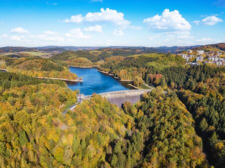 Aerial view of the agger dam (Aggertalsperre) in Gummersbach Stock Photo