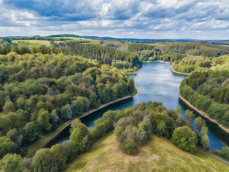 Aerial view of the Fuerwighagen near Meinerzhagen in the Sauerland in Germany.