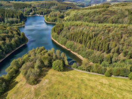Aerial view of the Fuerwigge dam near Meinerzhagen in the Sauerland in Germany.