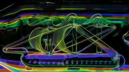 Abstract background is a neon illuminated glass ship.