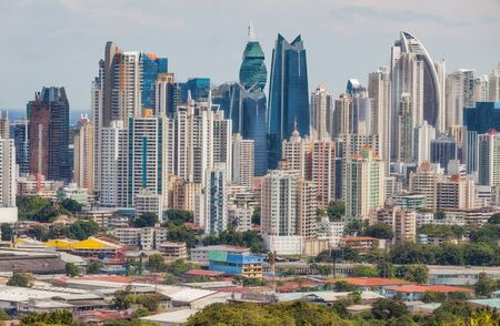 The skyline of Panama City with its modern skyscrapers.